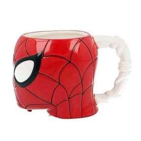 Tasse tête Spiderman 3D à anse toile d'araignée tissée