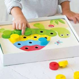 Jeu en bois et carton apprentissage des couleurs