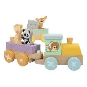 Train animaux en bois 9 pièces