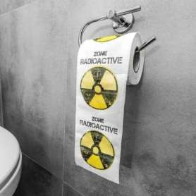 Rouleau de papier toilettes à pictogramme « zone radioactive »