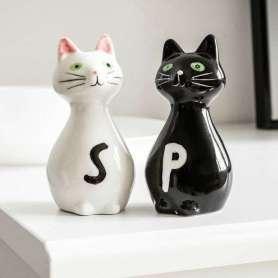 Salière et poivrière couple de chats