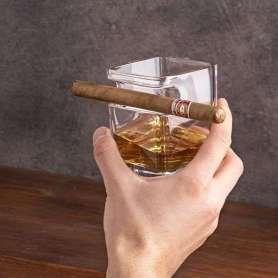 Verre à whisky à compartiment pour cigare